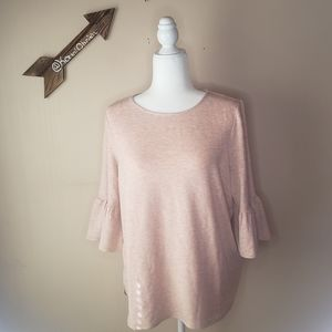 NWT Adrianna Papell Light Pink Bell Sleeve Blouse